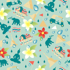 Songkran Festival in Thailand of April in seamless patter on blue tropical background. Vector illustration.