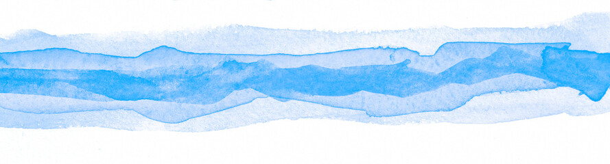 Abstract blue watercolor on white background. Hand Paint On Paper. drawn modern design template. Water striped design stain for banner, print, template