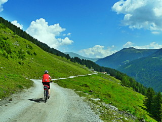 Austrian Alps-view of the cyclist