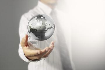 Globe ,earth in human hand,  image provided by Nasa