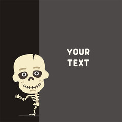 Funny skeleton looks out over the fields to text. Template with skeleton for cards, invitations or greetings