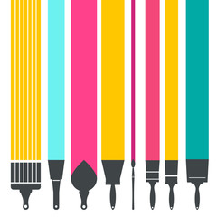 Paint Brushes with Colorful Lines