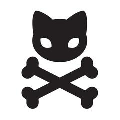cat skull icon cross bone vector logo Halloween illustration symbol