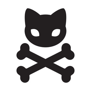 cat skull icon cross bone vector logo Halloween illustration symbol