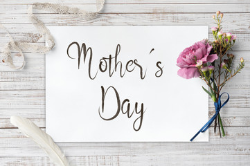 Mother´s Day - calligraphy and decorative items on wooden board