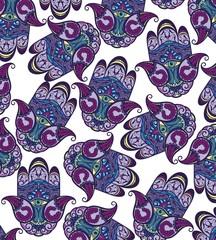 Vector Indian hand drawn hamsa symbol seamless pattern