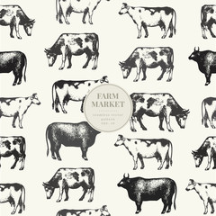 Seamless farm vector pattern. Graphical cow silhouette, hand drawn vintage illustrations. Retro farm animals background.