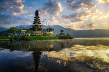 Aluminium Prints Indonesia Beautiful morning at Bali lake Beratan temple - Indonesia