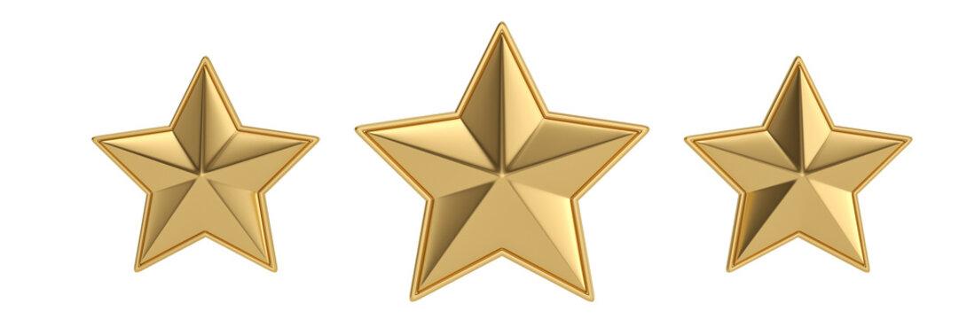 Golden stars on white background.3D illustration