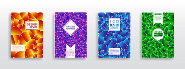 Colorful mosaic covers design. Geometric shapes brochure template layout. Minimal geometric pattern gradients. Vector Illustration esp10
