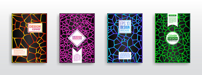 Geometric shapes brochure template layout. Colorful 3d mosaic covers design. Surface geometric pattern gradients. Vector Illustration esp10