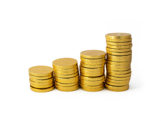 golden coins stacks arranged as a graph isolated on white background