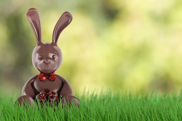 Chocolate easter bunny with eggs and red bow-knot . 3d render