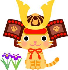五月人形の兜をかぶった猫