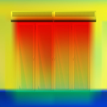 Double air curtain above door vector illustration. Hot airflow for a thermal imager. Colored thermographic image of the scan camera. The infrared temperature distribution in the building.