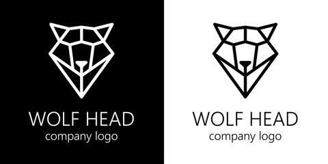 Polygonal schematic head of wolf. Vector illustration.