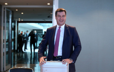 Bavarian Finance Minister Markus Soeder arrives for a cabinet meeting in Munich