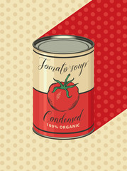 Vector illustration of tin can with the label of condensed tomato soup on a background of yellow tablecloth with polka dots