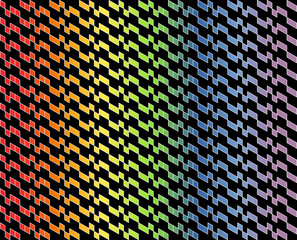 Abstract geometric pattern in multi-colored gradient with thin white lines on black color. Vector illustration. Use as background, backdrop, montage, or texture in website, logo, UI, or graphic design