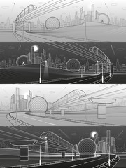 Monorail railway and illuminated highway. Transportation urban illustration set. Skyline modern city at background. Business buildings. Night town. Black and white lines. Vector design art