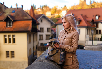 girl in City of Fribourg, Switzerland.