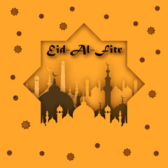 Eid-Al-Fitr mubarak greeting card vector illustration.