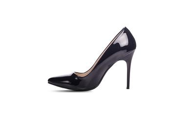 Black high heel women shoe isolated on white background