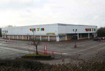 Closing down signs are seen outside the Toys R Us store in Coventry