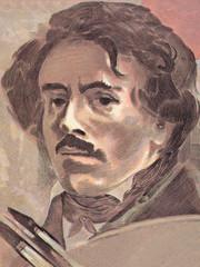 Eugene Delacroix portrait from French money