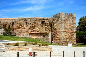 View of part of the Governors Castle (Castelo dos Governadores) with the tower to the right, Lagos, Algarve, Portugal.