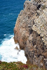 View along the rugged coastline with ocean views, Cape St Vincent, Algarge, Portugal.