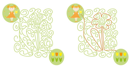 Easy spring / Easter maze game for children with a child , watering can and flowers / vector illustration on white background