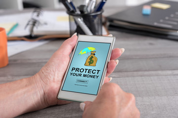 Money protection concept on a smartphone