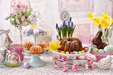 easter traditional cakes on festive table