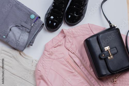 66f94485baf Woman Trendy Fashion Clothes. Gray jeans