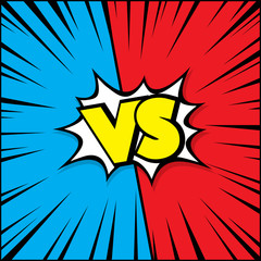 Fight vector graphic background blue and red with vs and versus text loud sound bubble