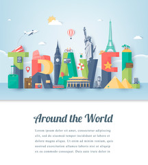 Travel composition with famous world landmarks. Travel and Tourism. Vector