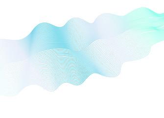 Abstract wavy striped pattern on white background. Vector light blue, aquamarine wave. Line art design element. Elegant flowing shiny waves, ribbon imitation. EPS10 illustration
