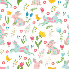 Easter concept seamless pattern. Cute rabbits and chicken in flowers. Seamless pattern.