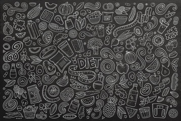 Vector doodles cartoon set of Diet food objects and elements