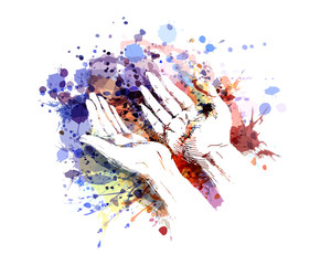 Vector color illustration of a begging hands