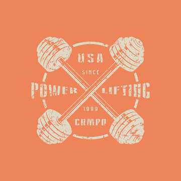 Emblem of the powerlifting club with crossed barbells