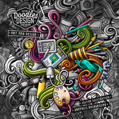 Doodles graphic design vector illustration. Creative art background