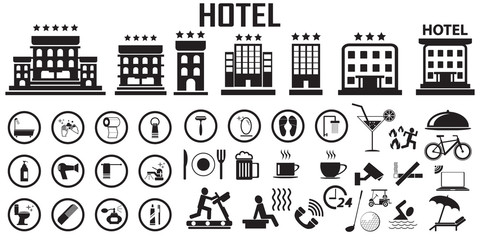 hotel bed room travel vacation service illustration flat icons. mono vector symbol.