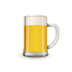 Fresh and tasty glass of beer. Detailed realistic vector illustration