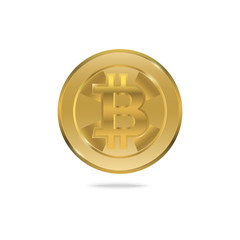 Bitcoin Gold isolated on white background with copy space,Business finance