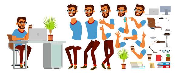 Business Man Character Vector. Working Hindu Male. Business Start Up. Modern Office. Coding, Software Development. Programmer. Animation Set. Bearded Salesman. Face Emotions. Cartoon Illustration