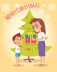 Merry Christmas Poster Mother Gives Present to Son
