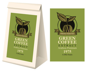 Paper packaging with label for green coffee extract. Vector label for green coffee with coffee bean and inscription and 3d paper package with this label.