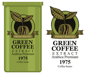 A tin can with label for green coffee extract. Vector label for green coffee with coffee bean and inscription and tin can with this label.